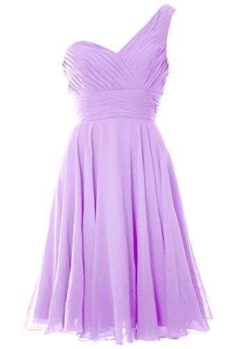 MACloth Women One Shoulder Short Bridesmaid Dress Wedding Party Evening Gown Lavanda