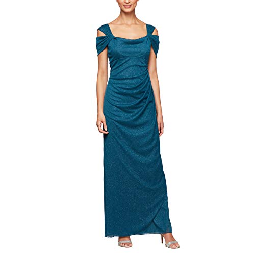 Alex Evenings Women's Long Cold Shoulder Dress (Petite and Regular Sizes), Peacock Glitter, 14P