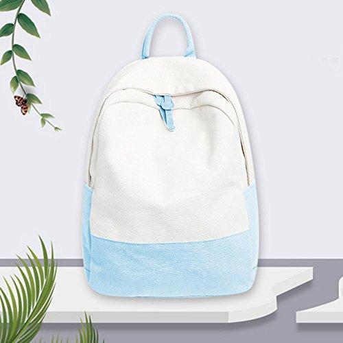 Casual School Canvas Girls Travel Widewing Shoulder Blue Patchwork Women Backpack Handbag qxSHSd8I