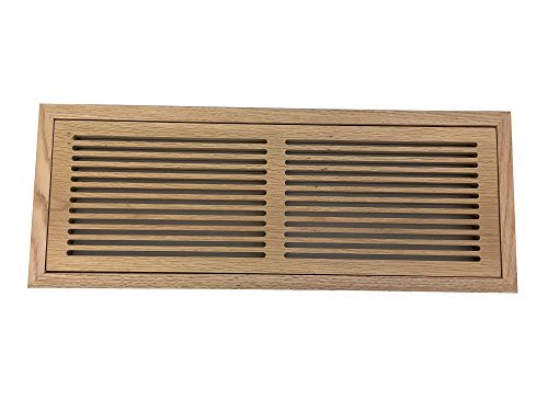 6 Inch x 20 Inch Red Oak Hardwood Vent Floor Register Flush Mount with Frame, Slotted Style, Unfinished
