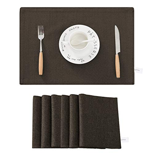 SyMax Table Placemats Linen Set of 6 Heat Resistant Fabric Table Mats Washable Table Runner for Dining Room,Party(Coffee, ()
