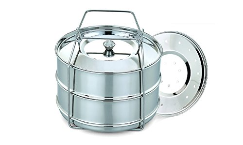 - ImperiaLot Stainless Pressure Cooker Insert Pans Set-Stackable Cooking Accessories For Your Instant Pot,Electric & Stove Top Pressure Cooker w Cooking Lid,Steaming Lid & Bonus - Egg Rack included