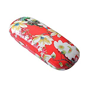 Faux Leather Hard Glasses Case Eyewear Box Spectacle Sunglasses Protector Holder Black Flower Floral Pattern Accessory (Flowers Red)