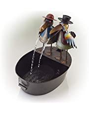 Alpine Corporation Metal Crow Fountain - Outdoor Water Fountain for Garden, Patio, Deck, Porch - Yard Art Decor