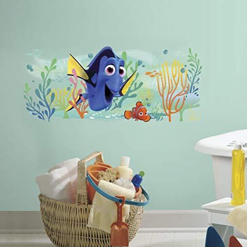 (1 Piece Kids Blue Orange Yellow Finding Dory and Nemo Wall Decal, Disney Themed Wall Stickers Peel Stick, Sea Water Fish Clown Movie Pixar Sea Decorative Graphic Mural Art, Vinyl )