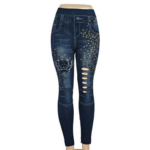 Docele Women's Skinny Blue Denim Leggings Stretchy Jeggings P1143-L023D supplier
