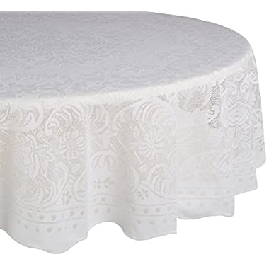 DII Home Essentials 100% Polyester, Machine Washable, Shabby Chic, Vintage Tablecloth or Overlay 63  Round, Victorian Rosebud
