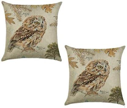"18/"" Cotton Linen Owl animal Pattern Sofa Decor Throw Pillow Case Cushion Cover"