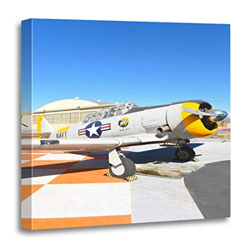Emvency Canvas Wall Art Print Orange Irvine Ca January 31 2018 SNJ 5 Texan WWII Era Plane on Display at The Great Park in California Artwork for Home Decor 12 x 12 Inches