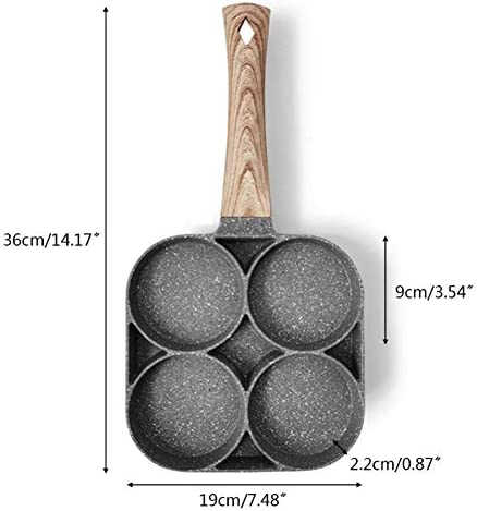 Œuf Poêle, Alliage Aluminium 4 Cavités Oeuf au Plat Cuisinière Casseroles, Anti-adhésif Rond Oeuf Cuisinière Pan, Déjeuner Cuisinière pour Pancake Cuisine Steak - Noir