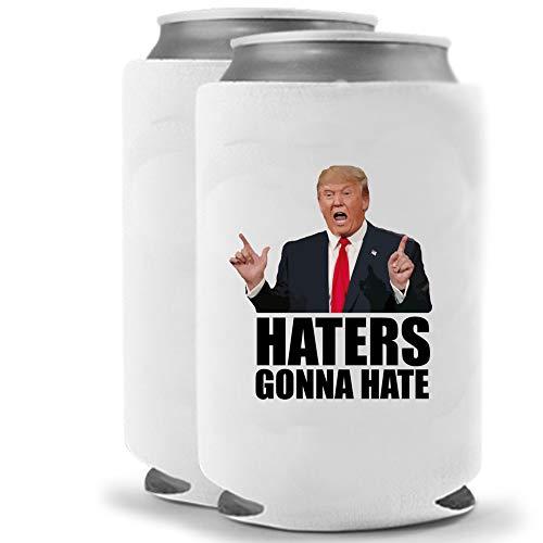 Trump Haters Gonna Hate | Set of Two (2) Funny Novelty Foam Can Cooler Beverage Huggie Hugger | Beer Beverage Holder - Beer Gifts Home - Quality Foam No Fade Can Cooler