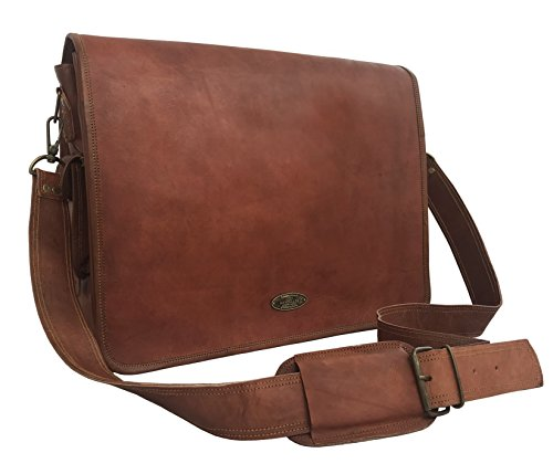 - VINTAGE COUTURE 18 Inch Genuine Business Leather Laptop Messenger Bag