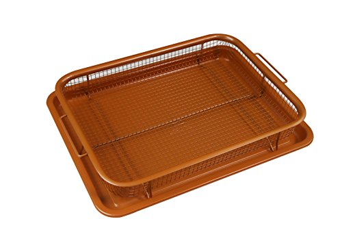 Deluxe Copper Crisper – 2-Pieces Nonstick Oven Air Fryer Pan / Tray & Mesh Basket Set – Air Fryer in Oven – Ideal for French Fry – Frozen Food , Baking Sheet without Oil by WHG