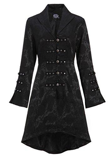 nero con schiena Cappotto sulla giacca da allacciatura gotico donna Nero colore stile vittoriano wn5qqIYH