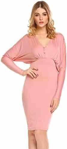 980e4b8f4eeb Nessere Women's V-Neck Batwing Sleeve Draped Backless Bodycon OL Party Dress  Dresses