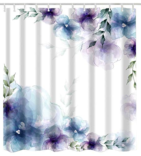 BROSHAN Watercolor Flower Bath Decor Shower Curtain,Spring Retro Purple and Blue Flower Elegant Nature Art Print Bath Curtain,Polyester Waterproof Fabric Bathroom Accessories with Hooks,72x72 Inch (Blue Retro Shower Curtain)