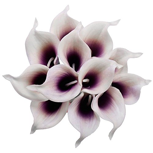(SMYLLS Calla Lily Bridal Wedding Bouquets with Latex-Look Like Real,Eco-friendly Odourless Artificial Flowers Christmas Home Decoration(12, Purple & White))
