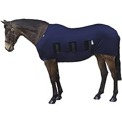 Snuggy Hoods Horse Slinky Lycra Blanket / Lycra Horse Sheet / Belly Cover / 6 Sizes / 2 Colors (Navy Blue, M)