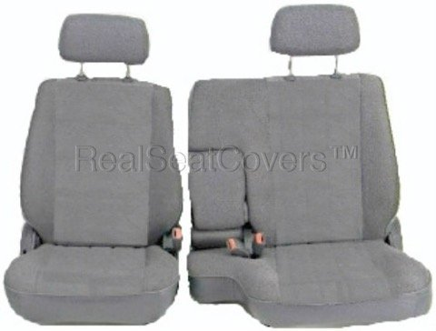 (RealSeatCovers for Front 60/40 Split Bench Adjustable Headrest Armrest Belt Cutout Custom Made Exact Fit Seat Cover for Toyota Tacoma 1995-2000 (Gray, Grey) )
