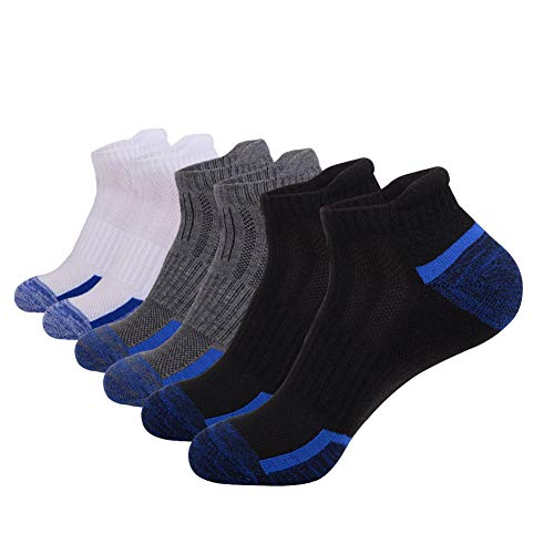 (Mens Ankle Athletic Low Cut Socks With Comfort Cushion for Running Tab Sock 6Pack,Socks Size:10-13,2White+2Black+2Gray)