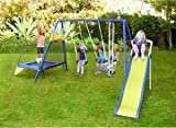 Metal Swing Set w/ Trampoline and Slide Jungle Gym Jump Play for Kids Outdoor backyard fun set