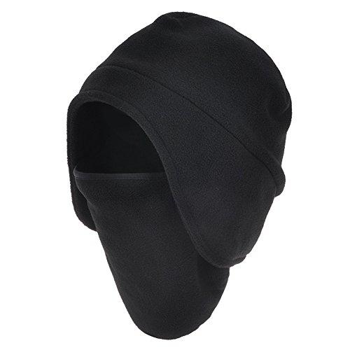 Leories Winter Warm Skull Cap Outdoor Windproof Fleece Earflap Hat with Pull-down Face Mask Black
