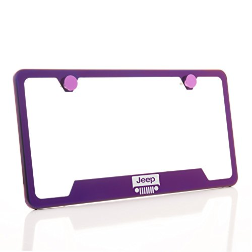 KA Depot One Jeep Logo on Purple Chrome Bottom Cut Out Stainless Steel License Plate Frame Holder Front Or Rear Bracket Laser Etch Engraved Aluminum Screw Cap