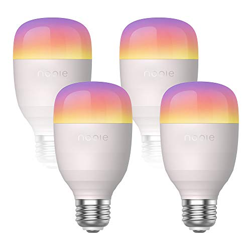 Nooie Smart LED Bulb WiFi E26 Dimmable Multicolor Light Bulb Compatible with Alexa,Google Home,A19 10W Equivalent RGB Color Changing Bulb,Schedule &Timer,16 Million(No Hub) (Smart Bulb(4 Packs))