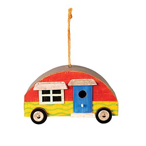 Hanna's Handiworks Red Happy Camper Wavy Stripe 9 x 5 Wood and Metal Birdhouse with Twine Hanger
