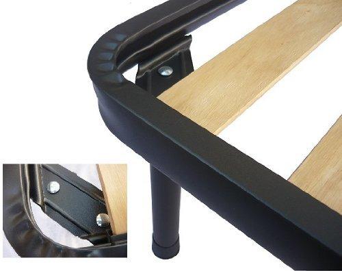 Lot de 4 pieds de lit en fer avec double boulon compatibles avec sommiers à lattes Eminflex 25 cm