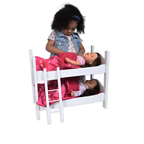 Bunk Bed for Twin Dolls fits 18 Inch Dolls (Wood Doll Bed)