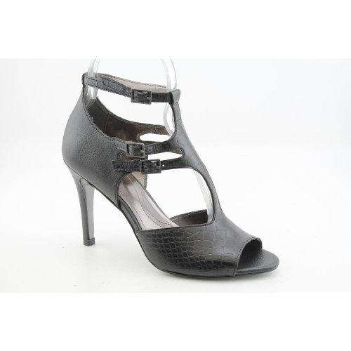 Price comparison product image Tahari Warner Womens Size 10 Black Open Toe Leather Pumps Heels Shoes