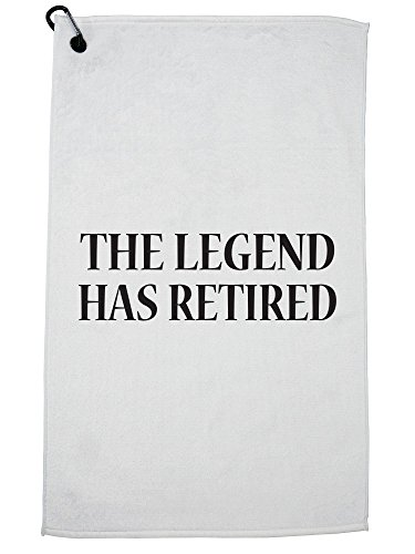 Hollywood Thread The Legend Has Retired - Retirement Graphic Golf Towel with Carabiner Clip by Hollywood Thread
