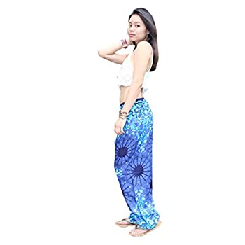 Amydong Yoga Pants, Men Women High Waist Yoga Pants Loose Thai Harem Trousers Boho Festival Hippy Smock Fitness Leggings (Free Size, Blue) 1