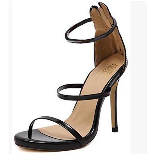 pu Scarpe Casual donna argento pompa Heel Stiletto Estate ZHZNVX della Black Primavera nero oro per Comfort base sandali wBqWC