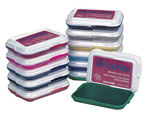 ColorBox Non-Toxic Washable Stamp Pad Set, 2-7/8 X 2 in, Assorted Color, Set of 12