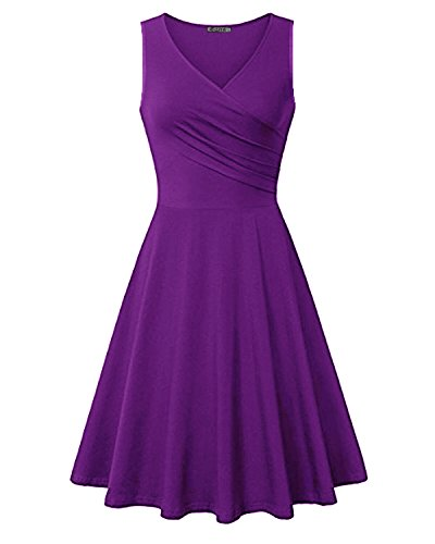 KILIG Women's V Neck Sleeveless Summer Casual Elegant Midi Dress (Purple,M)
