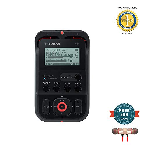 - Roland High-Resolution Handheld Audio Recorder Black (R-07-BK) includes Free Wireless Earbuds - Stereo Bluetooth In-ear and 1 Year Everything Music Extended Warranty