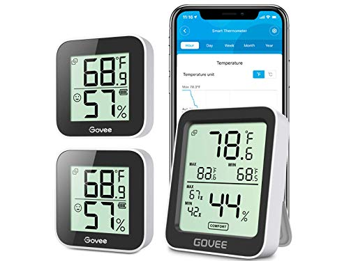 Bundle-3-Items-Govee-Temperature-Humidity-Monitor-3-Pack-Indoor-Room-Thermometer-Hygrometer-with-App-Alert-Mini-Bluetooth-Digital-Thermometer-Humidity-Sensor-with-Data-Storage