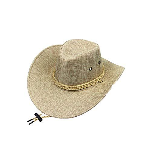 Unisex Straw Western Cowboy Hat Outback Wide Brim Sun Cap Cattleman Hat with Strap Khaki (Khaki Outback Classic)