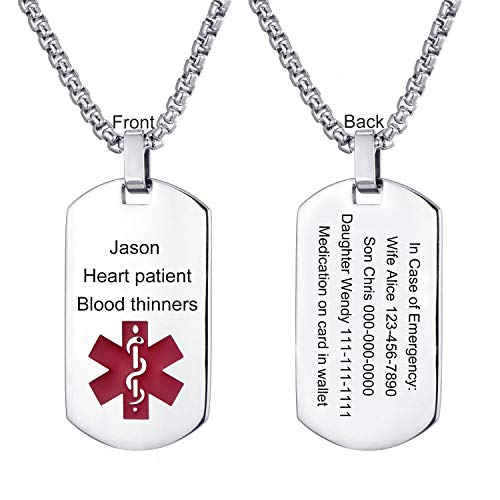 (LMXXV Customize Horizontal Engraved Medical Alert ID 316L Stainless Steel Dog Tag Pendant Necklace for Men Boy)