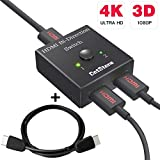DotStone HDMI Switch Bi-direction 4K HDMI Splitter 2 x 1/1 x 2 No External Power Required 2 Ports HDMI Switcher Supports Ultra HD 4K 3D 1080P Comes with 3 Feet HDMI Cable