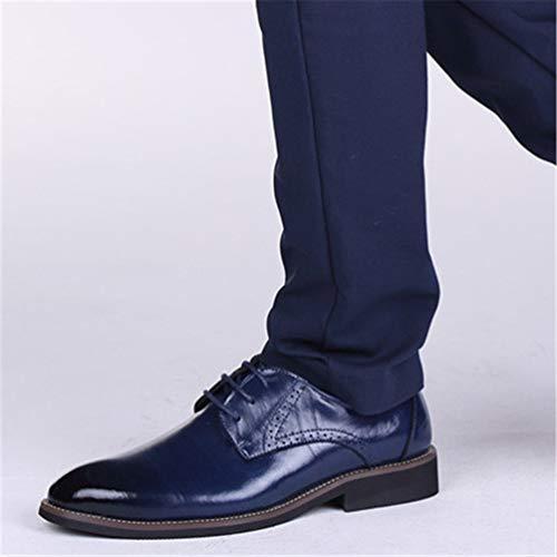 Scarpe Maschio Blu Up Dress Scarpe Scarpe Business Qianliuk Uomo Uomo Brogues Pizzo Oxfords Formali EWY6nnHvqx
