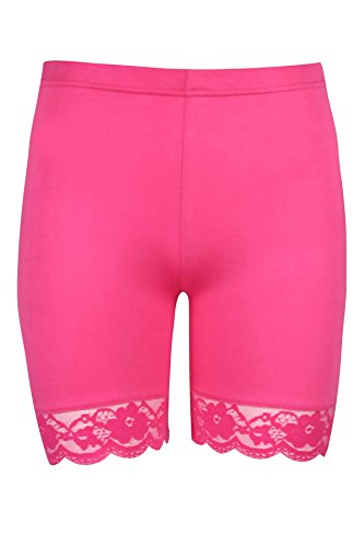 Oops Outlet Women's Lace Trim Jersey Gym Bike Cycling Hot Pants Tights Shorts S/M (US 4/6) Cerise (Oops Outlet)