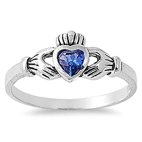 sapphire claddagh ring - 8