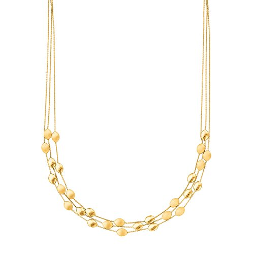 Three Strand Cable Chain (Finejewelers 14 Kt Yellow Gold 17 Inch 3 Strand Cable Chain Link Pebble Fancy Necklace with Lobster Clasp)