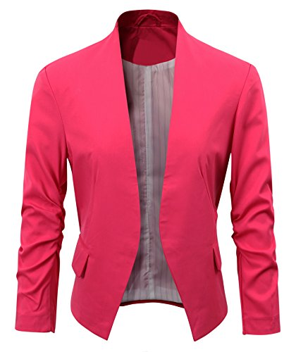 Hot Pink Jacket (Women's Folding Sleeve Office Blazer (M, Hot pink))