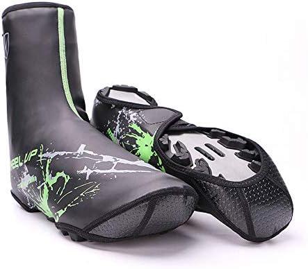 サイクリングシューズカバー 滑り止め自転車多機能防水厚い屋外防風暖かい靴カバー 防水レインブーツシューズカバー (Color : Green)