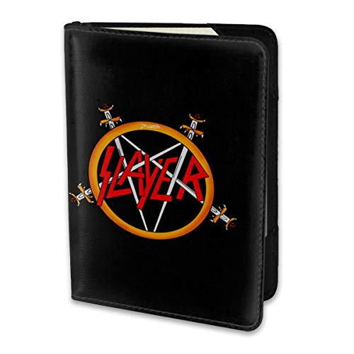 Leather Passport Holder Cover Case Travel Wallet MaNeg Slayer Rock Band