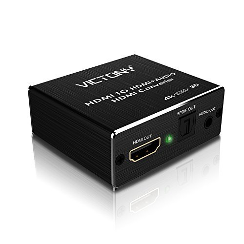 VICTONY 4K x 2K HDMI to HDMI and Optical TOSLINK SPDIF + 3.5mm Stereo Audio Extractor Converter HDMI Audio Splitter Adapter(HDMI Input, HDMI + Digital / Analog Audio Output) (Black) (Satellite Box Pc)